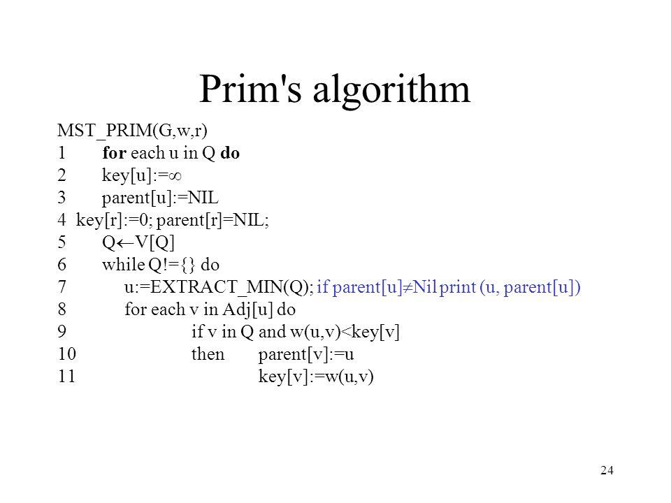 24 Prim s algorithm MST_PRIM(G,w,r) 1for each u in Q do 2key[u]:=∞ 3parent[u]:=NIL 4 key[r]:=0; parent[r]=NIL; 5Q  V[Q] 6while Q!={} do 7u:=EXTRACT_MIN(Q); if parent[u]  Nil print (u, parent[u]) 8for each v in Adj[u] do 9if v in Q and w(u,v)<key[v] 10thenparent[v]:=u 11key[v]:=w(u,v)
