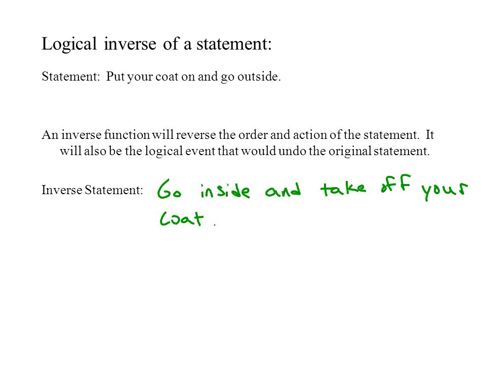 Logical inverse of a function: Equation: An inverse of a function will undo every action on the variable.