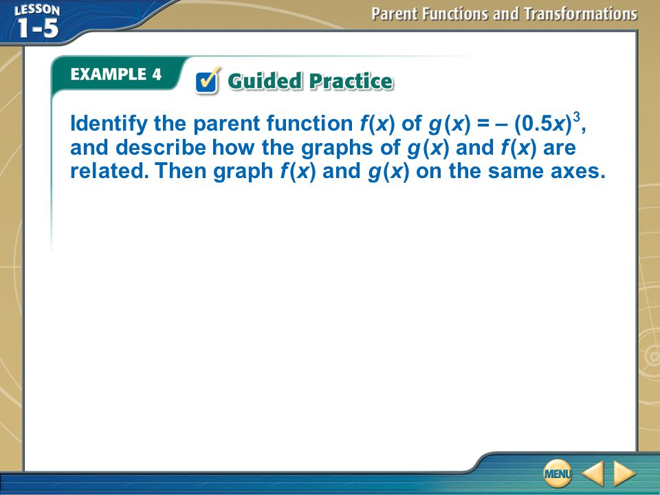 Example 4 Identify the parent function f (x) of g (x) = – (0.5x) 3, and describe how the graphs of g (x) and f (x) are related.