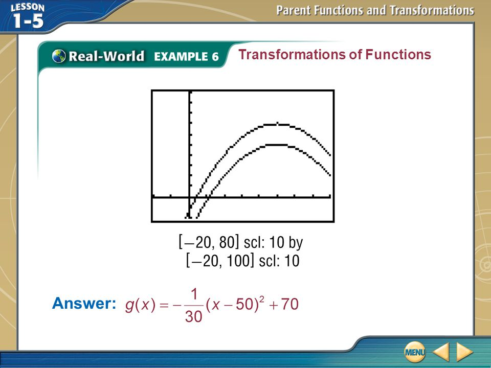 Example 6 Transformations of Functions Answer: