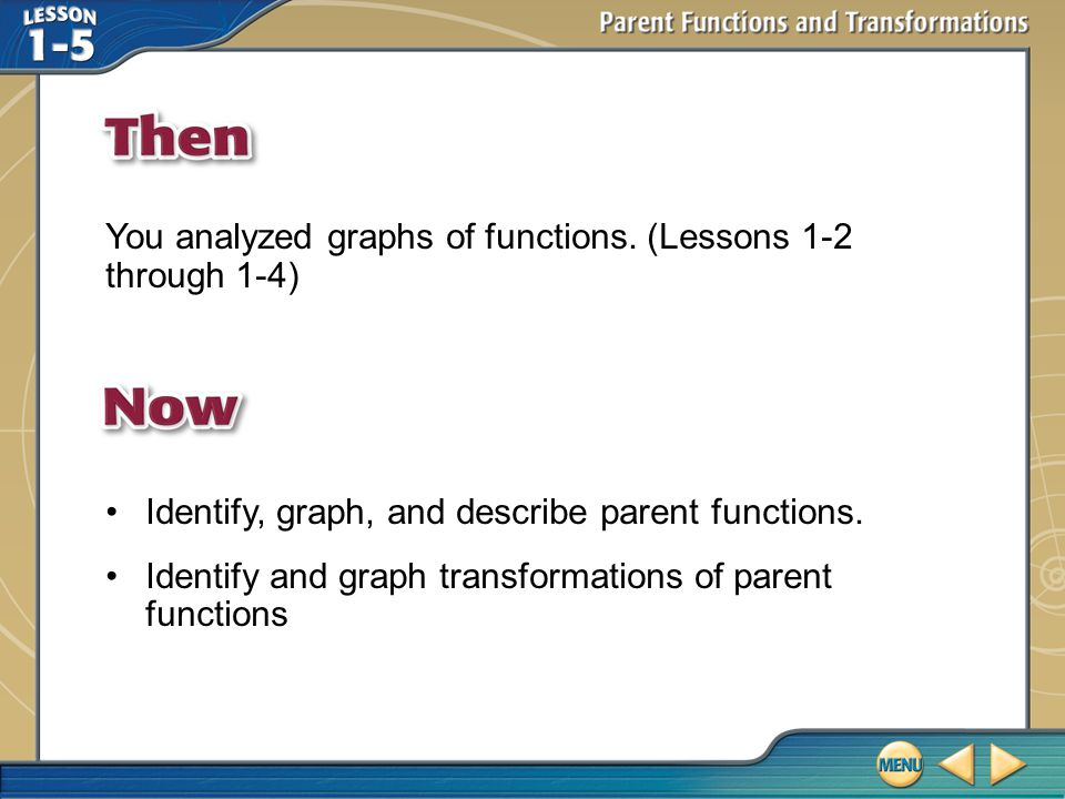 Then/Now You analyzed graphs of functions.