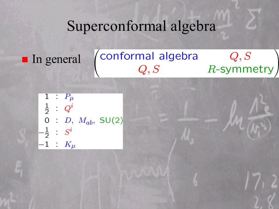 Superconformal algebra n In general