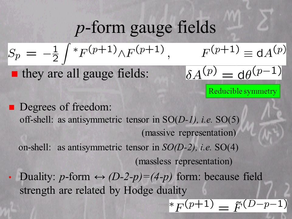 p-form gauge fields n they are all gauge fields: n Degrees of freedom: off-shell: as antisymmetric tensor in SO(D-1), i.e.