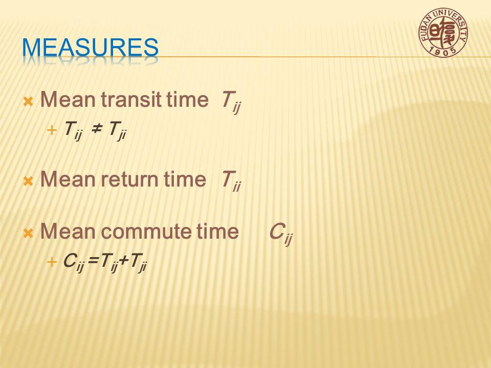  Mean transit timeT ij  T ij ≠ T ji  Mean return timeT ii  Mean commute timeC ij  C ij =T ij +T ji