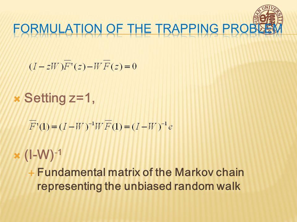  (I-W) -1  Fundamental matrix of the Markov chain representing the unbiased random walk