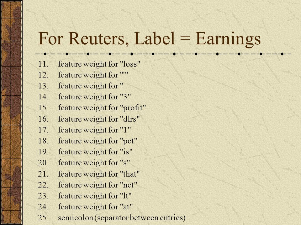 For Reuters, Label = Earnings 11.feature weight for loss 12.feature weight for 13.feature weight for 14.feature weight for 3 15.feature weight for profit 16.feature weight for dlrs 17.feature weight for 1 18.feature weight for pct 19.feature weight for is 20.feature weight for s 21.feature weight for that 22.feature weight for net 23.feature weight for lt 24.feature weight for at 25.semicolon (separator between entries)