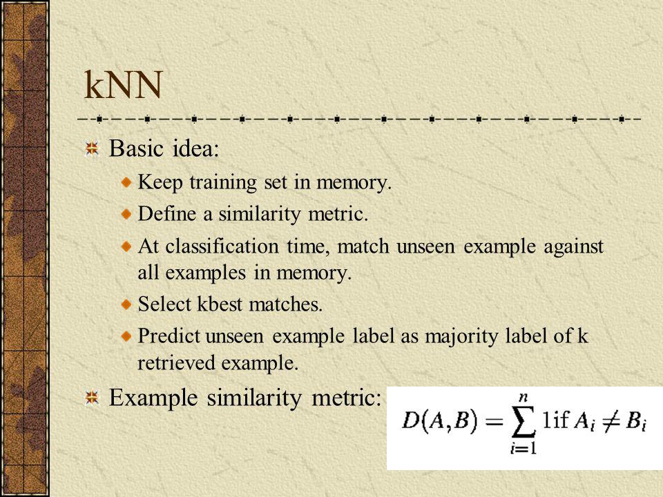 kNN Basic idea: Keep training set in memory.Define a similarity metric.
