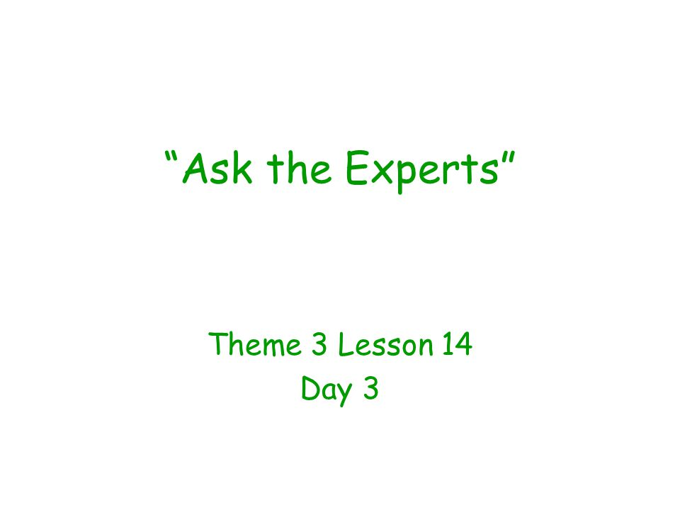 """Ask the Experts"" Theme 3 Lesson 14 Day 3"