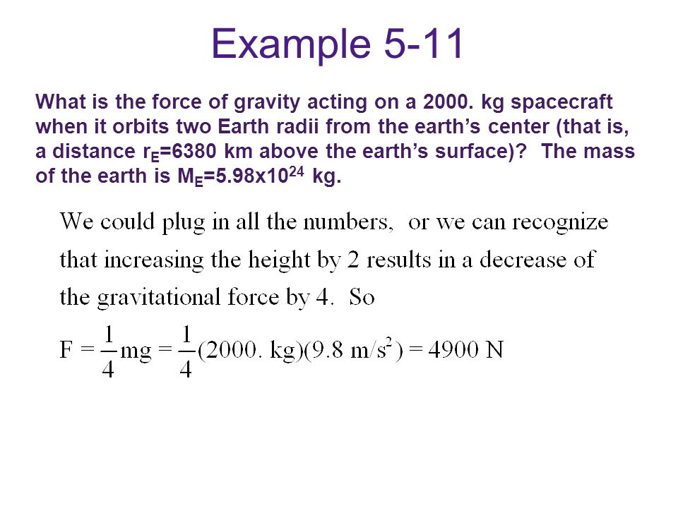 Example 5-11 What is the force of gravity acting on a 2000.