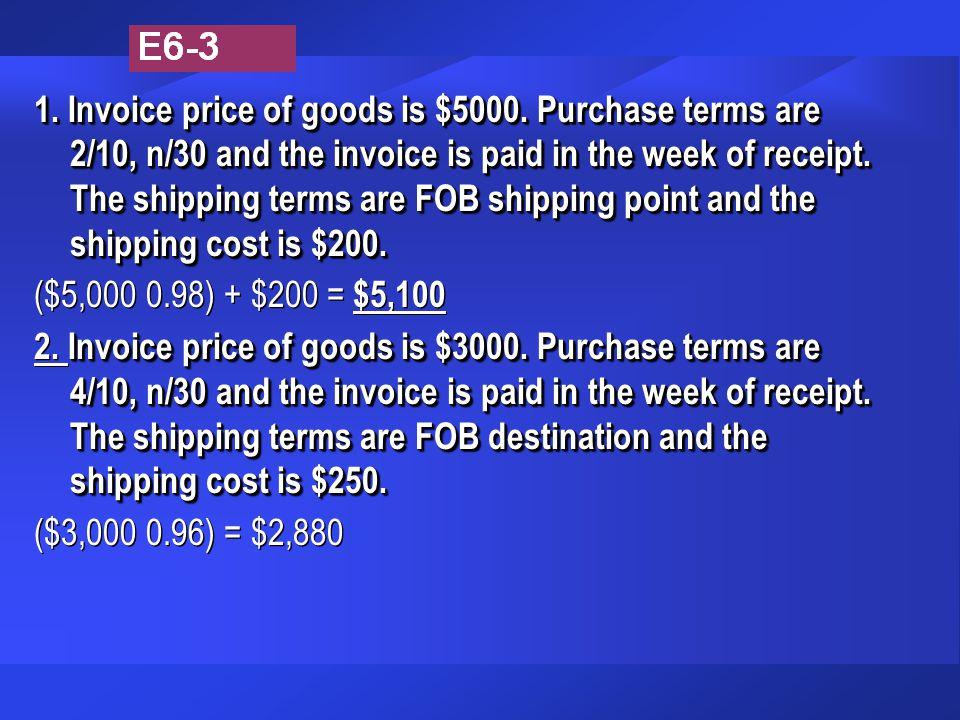 1. Invoice price of goods is $5000.