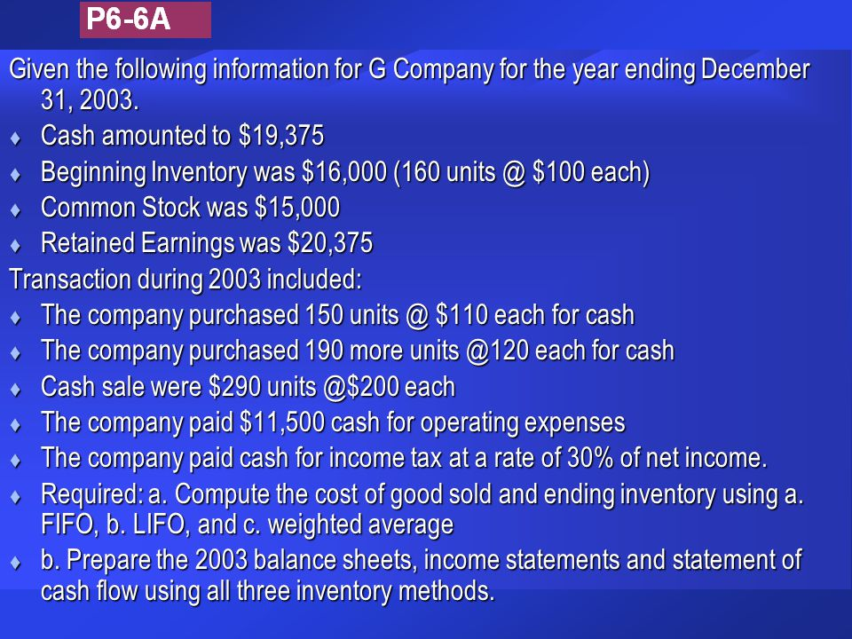Given the following information for G Company for the year ending December 31, 2003. t Cash amounted to $19,375 t Beginning Inventory was $16,000 (160