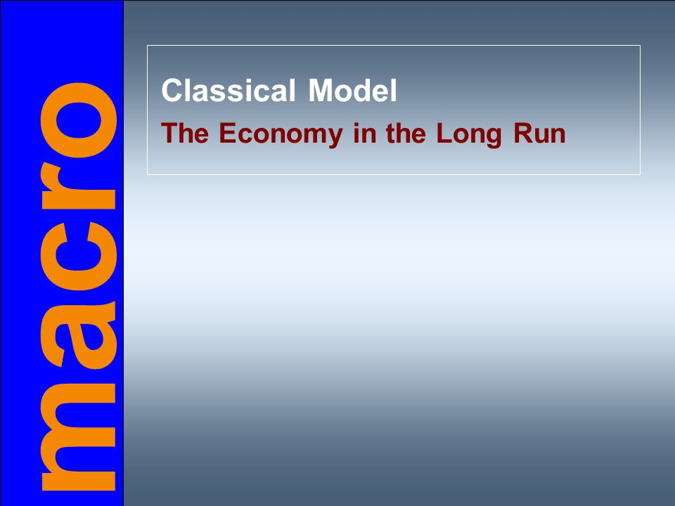 macro Classical Model The Economy in the Long Run