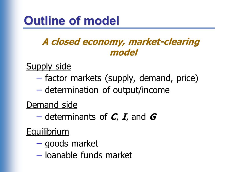 Outline of model A closed economy, market-clearing model Supply side – factor markets (supply, demand, price) – determination of output/income Demand