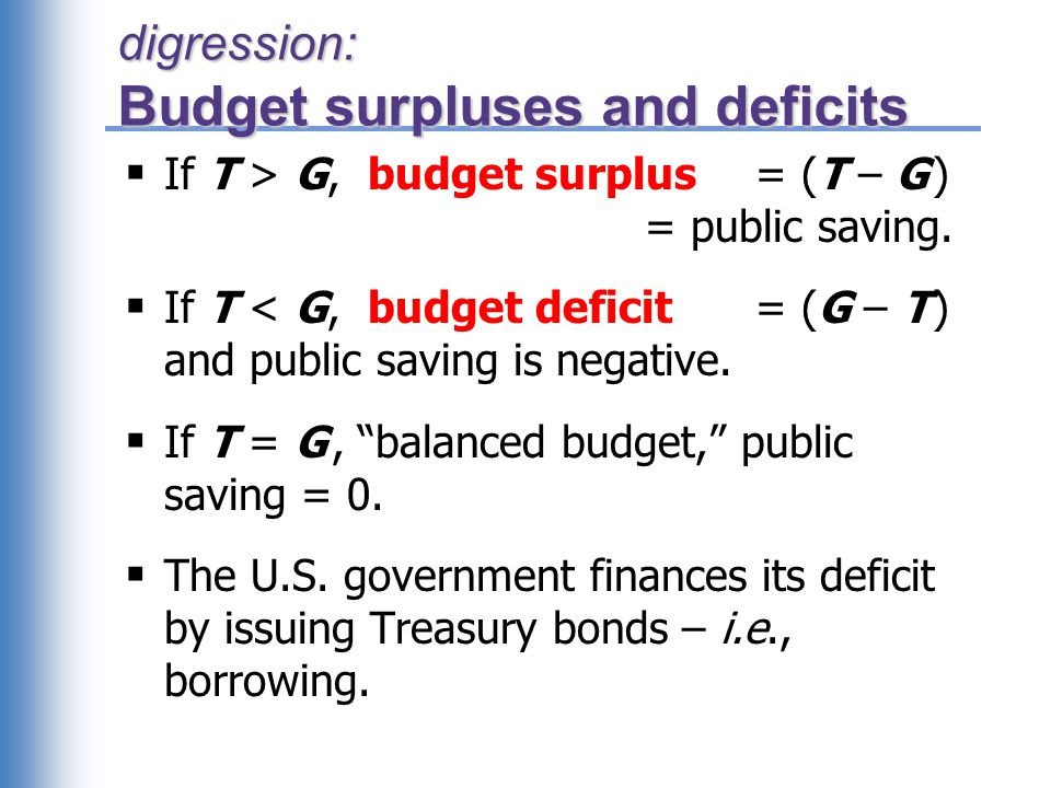 digression: Budget surpluses and deficits  If T > G, budget surplus = (T – G ) = public saving.  If T < G, budget deficit = (G – T ) and public savi