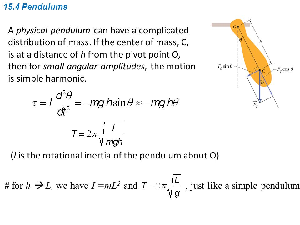 A physical pendulum can have a complicated distribution of mass.