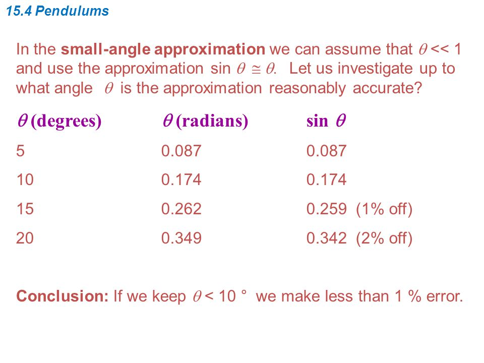 In the small-angle approximation we can assume that  << 1 and use the approximation sin   .