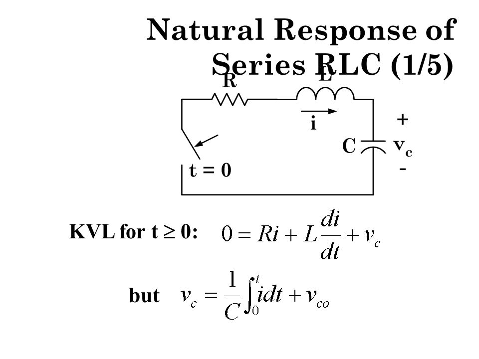 Natural Response of Series RLC (1/5) KVL for t  0: but