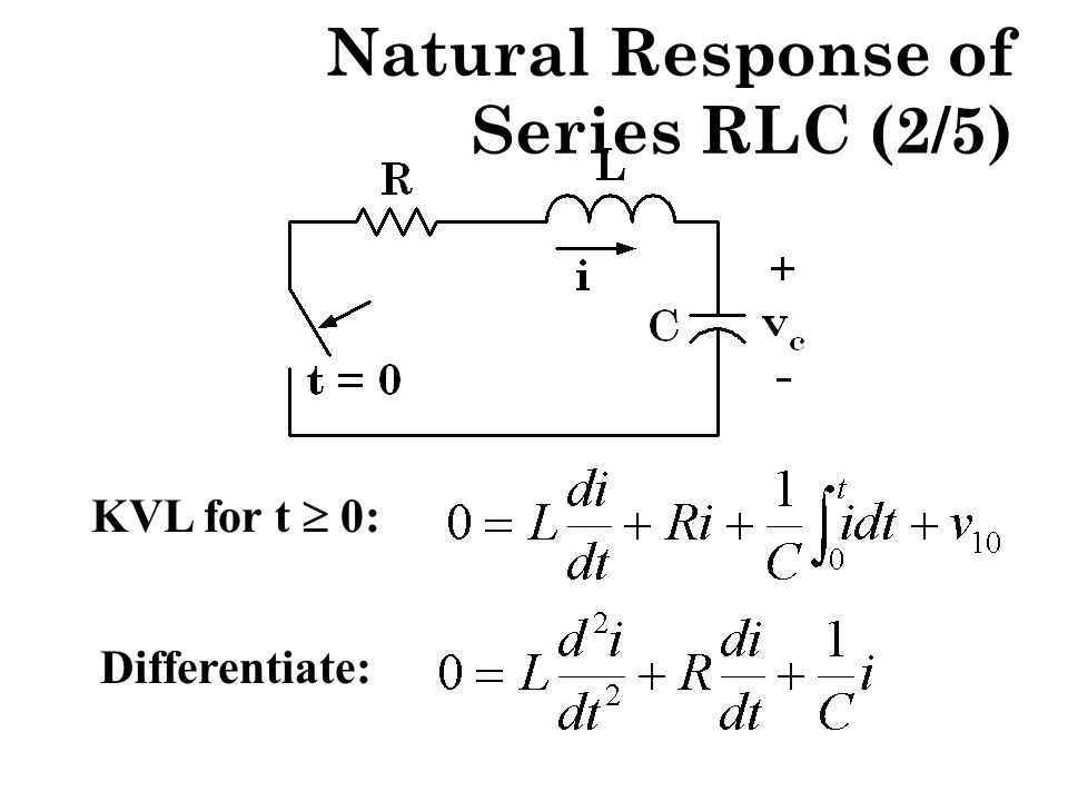 Natural Response of Series RLC (2/5) KVL for t  0: Differentiate: