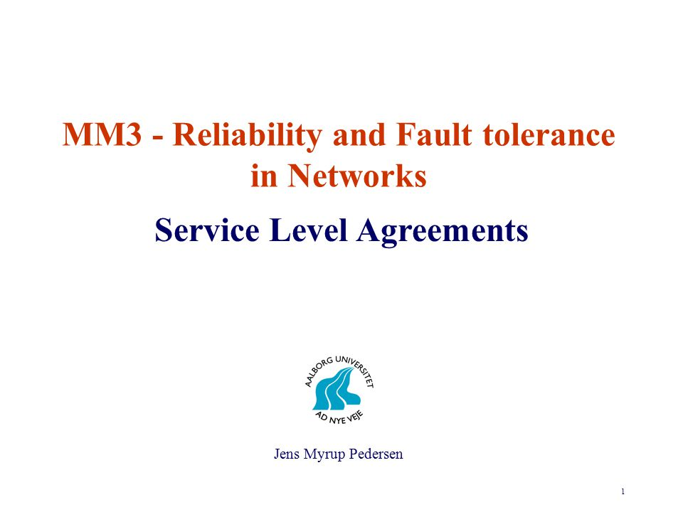 12 Service Level Agreements International Standards To estimate and verify the quality of the various components in the network a number of measurement are specified in international agreed standards.