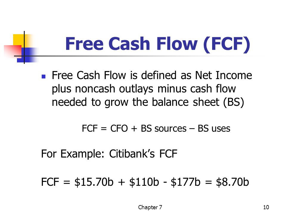 Chapter 710 Free Cash Flow (FCF) Free Cash Flow is defined as Net Income plus noncash outlays minus cash flow needed to grow the balance sheet (BS) FC
