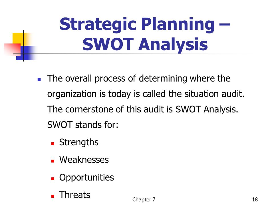 Chapter 718 Strategic Planning – SWOT Analysis The overall process of determining where the organization is today is called the situation audit.