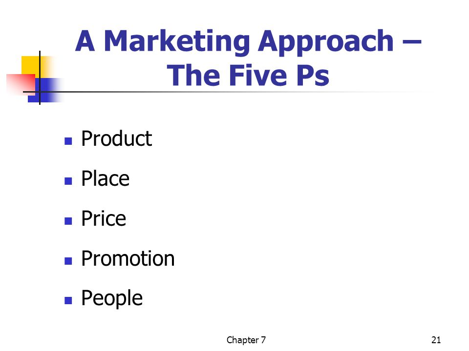 Chapter 721 A Marketing Approach – The Five Ps Product Place Price Promotion People