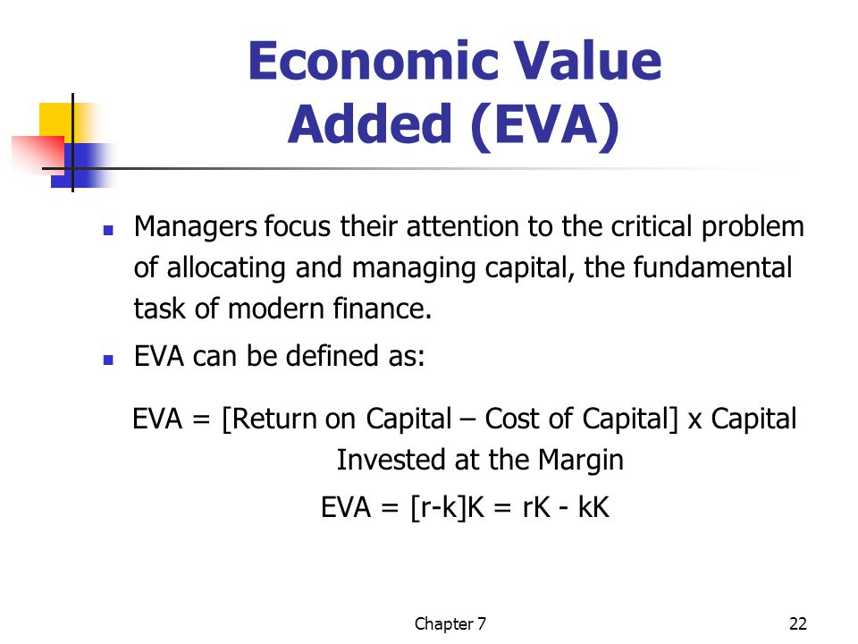 Chapter 722 Economic Value Added (EVA) Managers focus their attention to the critical problem of allocating and managing capital, the fundamental task of modern finance.