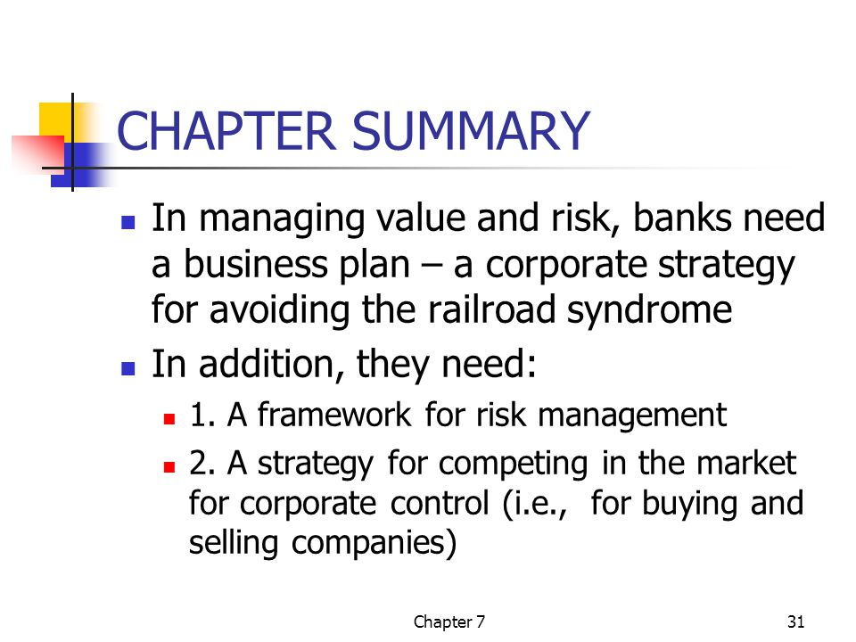 Chapter 731 CHAPTER SUMMARY In managing value and risk, banks need a business plan – a corporate strategy for avoiding the railroad syndrome In addition, they need: 1.