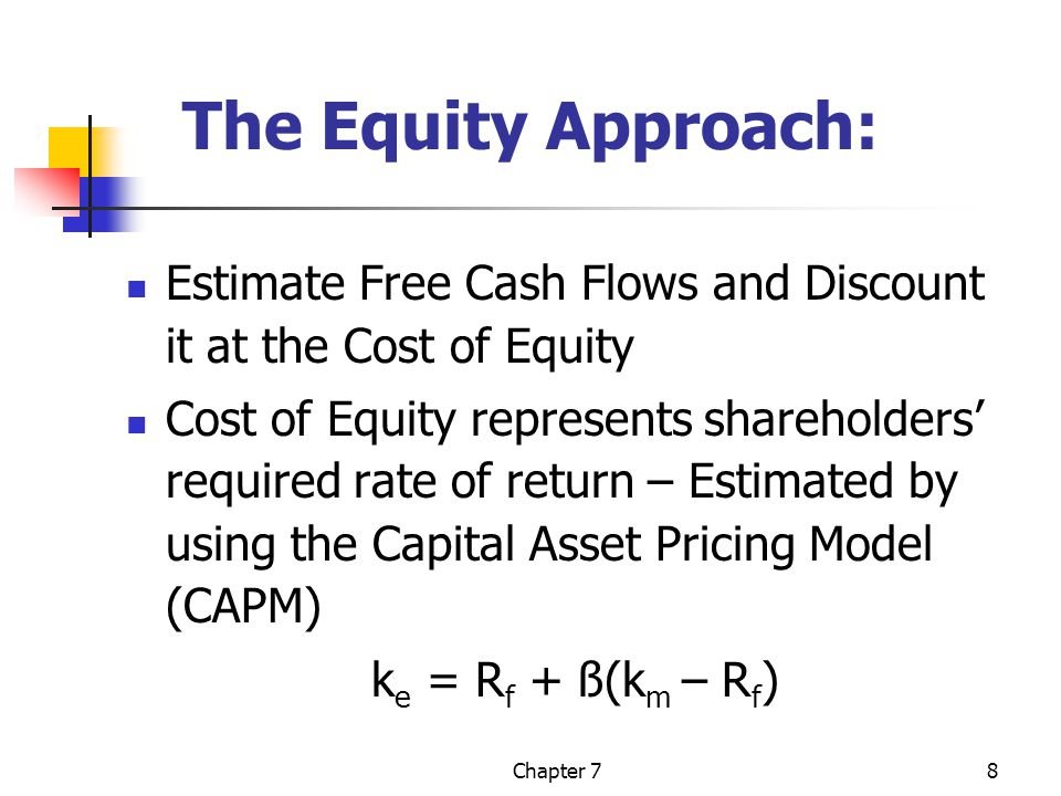 Chapter 78 The Equity Approach: Estimate Free Cash Flows and Discount it at the Cost of Equity Cost of Equity represents shareholders' required rate of return – Estimated by using the Capital Asset Pricing Model (CAPM) k e = R f + ß(k m – R f )