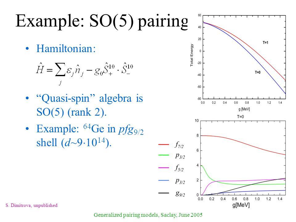 Generalized pairing models, Saclay, June 2005 Example: SO(5) pairing Hamiltonian: Quasi-spin algebra is SO(5) (rank 2).