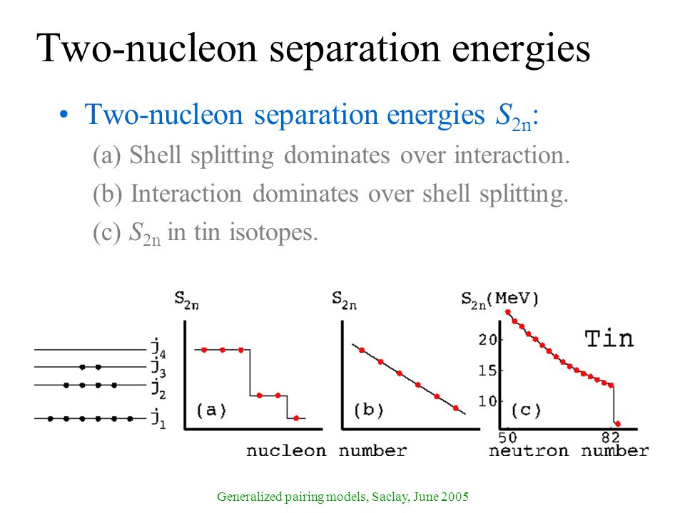 Generalized pairing models, Saclay, June 2005 Two-nucleon separation energies Two-nucleon separation energies S 2n : (a) Shell splitting dominates over interaction.