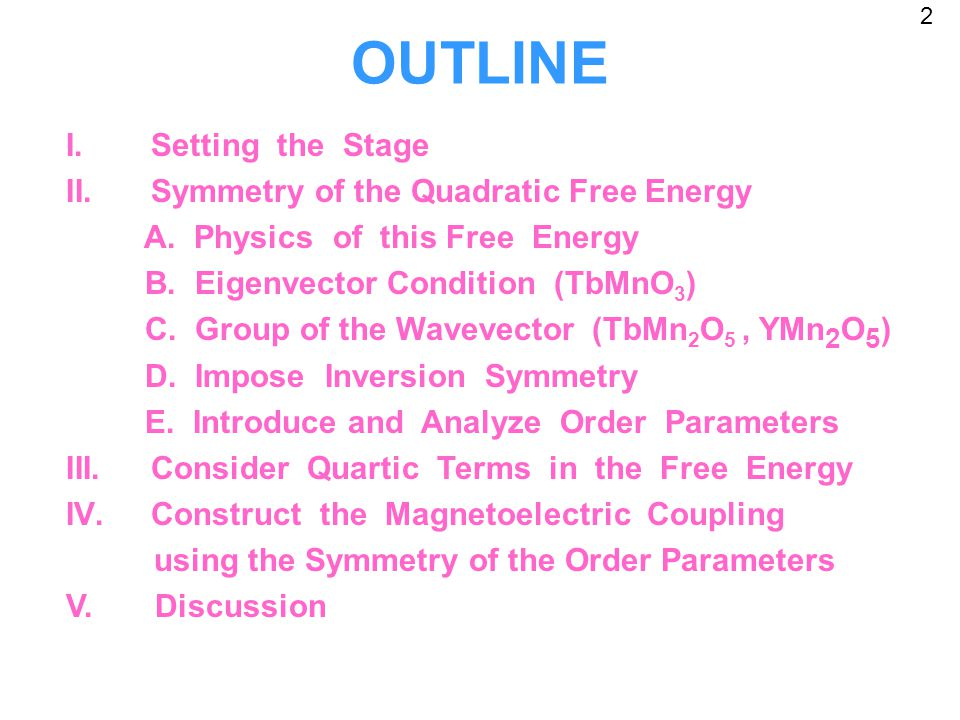 OUTLINE I.Setting the Stage II.Symmetry of the Quadratic Free Energy A.