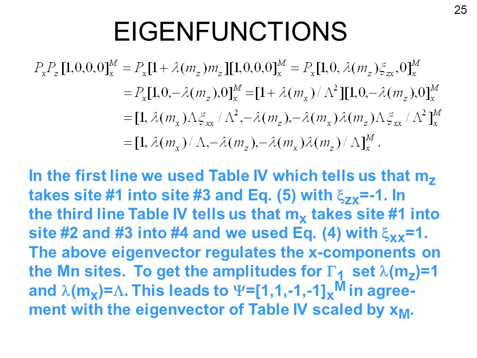 EIGENFUNCTIONS In the first line we used Table IV which tells us that m z takes site #1 into site #3 and Eq.