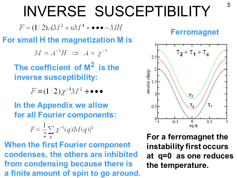 INVERSE SUSCEPTIBILITY For small H the magnetization M is The coefficient of M 2 is the inverse susceptibility: In the Appendix we allow for all Fourier components: Ferromagnet For a ferromagnet the instability first occurs at q=0 as one reduces the temperature.