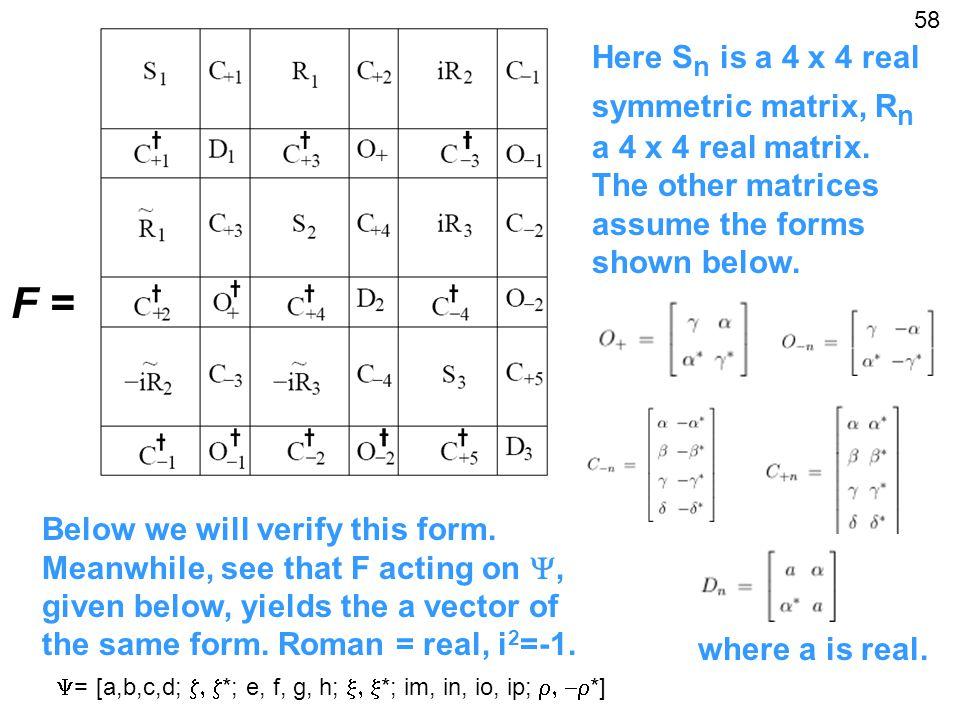 F = Here S n is a 4 x 4 real symmetric matrix, R n a 4 x 4 real matrix.