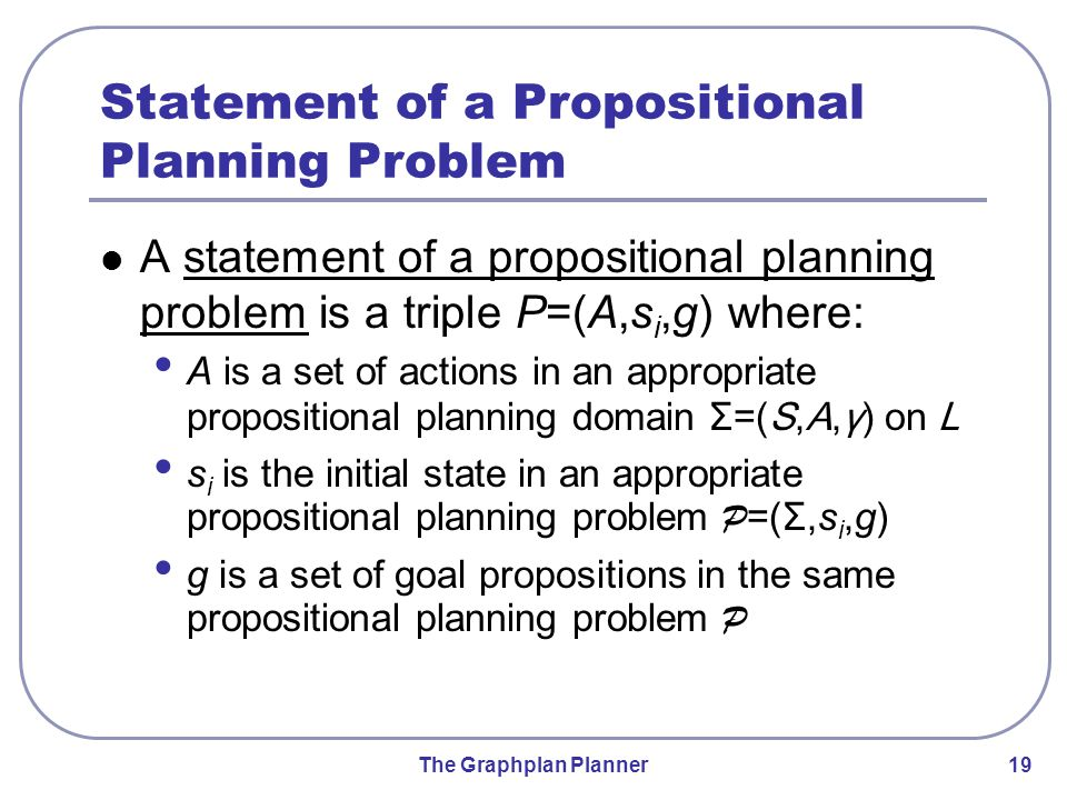The Graphplan Planner 19 Statement of a Propositional Planning Problem A statement of a propositional planning problem is a triple P=(A,s i,g) where: A is a set of actions in an appropriate propositional planning domain Σ=(S,A,γ) on L s i is the initial state in an appropriate propositional planning problem P =(Σ,s i,g) g is a set of goal propositions in the same propositional planning problem P