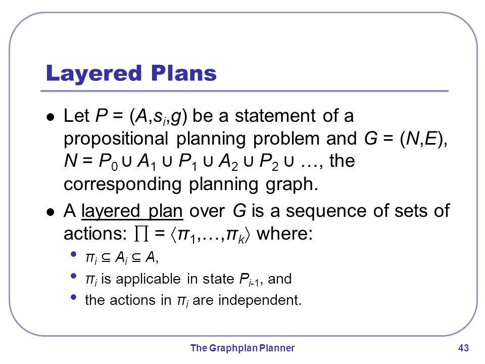 The Graphplan Planner 43 Layered Plans Let P = (A,s i,g) be a statement of a propositional planning problem and G = (N,E), N = P 0 ∪ A 1 ∪ P 1 ∪ A 2 ∪