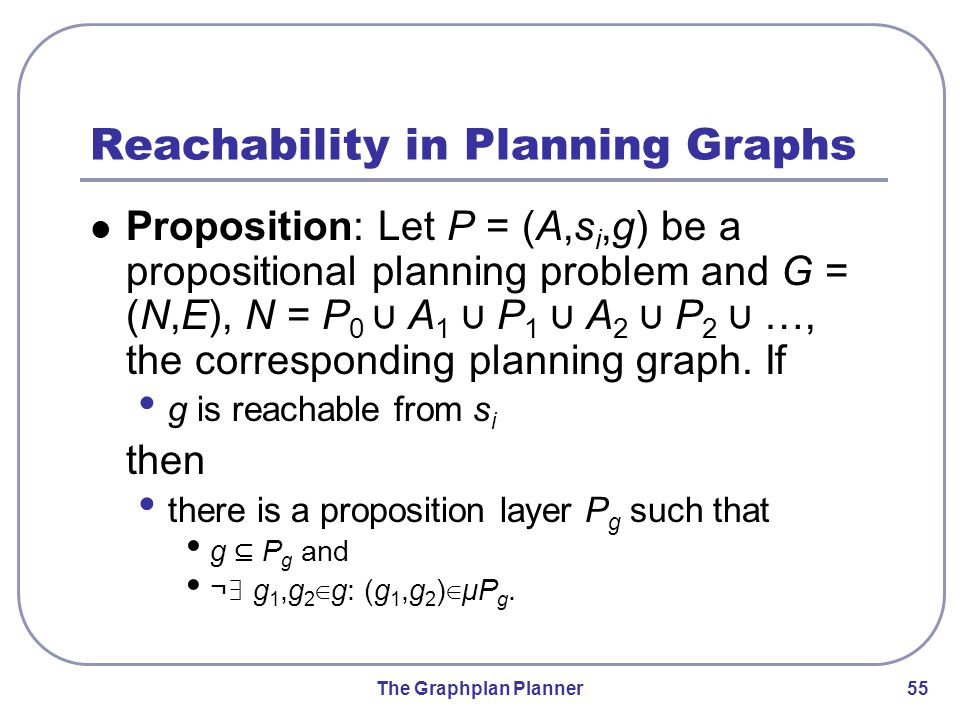The Graphplan Planner 55 Reachability in Planning Graphs Proposition: Let P = (A,s i,g) be a propositional planning problem and G = (N,E), N = P 0 ∪ A 1 ∪ P 1 ∪ A 2 ∪ P 2 ∪ …, the corresponding planning graph.