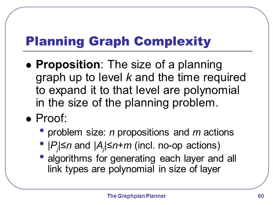 The Graphplan Planner 60 Planning Graph Complexity Proposition: The size of a planning graph up to level k and the time required to expand it to that