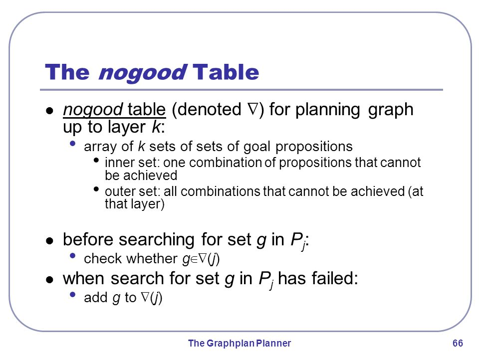 The Graphplan Planner 66 The nogood Table nogood table (denoted ∇ ) for planning graph up to layer k: array of k sets of sets of goal propositions inner set: one combination of propositions that cannot be achieved outer set: all combinations that cannot be achieved (at that layer) before searching for set g in P j : check whether g ∈∇ (j) when search for set g in P j has failed: add g to ∇ (j)