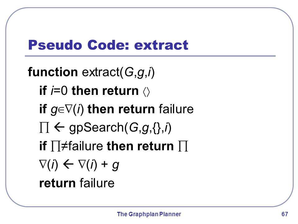 The Graphplan Planner 67 Pseudo Code: extract function extract(G,g,i) if i=0 then return 〈〉 if g ∈∇ (i) then return failure ∏  gpSearch(G,g,{},i) if