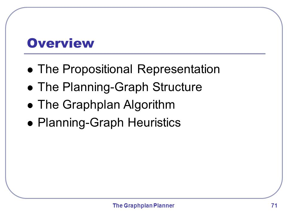 The Graphplan Planner 71 Overview The Propositional Representation The Planning-Graph Structure The Graphplan Algorithm Planning-Graph Heuristics