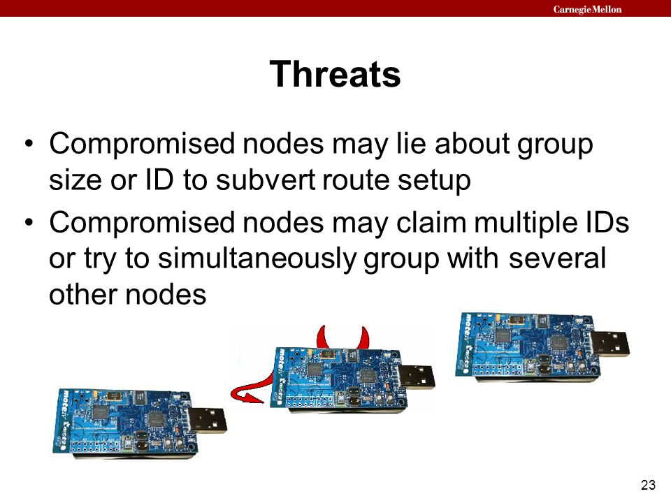 23 Threats Compromised nodes may lie about group size or ID to subvert route setup Compromised nodes may claim multiple IDs or try to simultaneously group with several other nodes