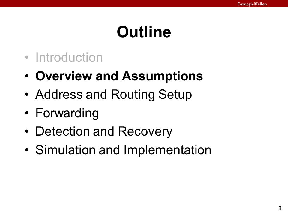 9 Our Routing Protocol Architecture Establish routing tables and network addresses –Use prevention techniques to thwart active attackers –Detect and recover from attempts to deviate from the protocol or to launch additional attacks Apply resilient routing techniques to forward packets –Uses the securely established routing tables and network addresses