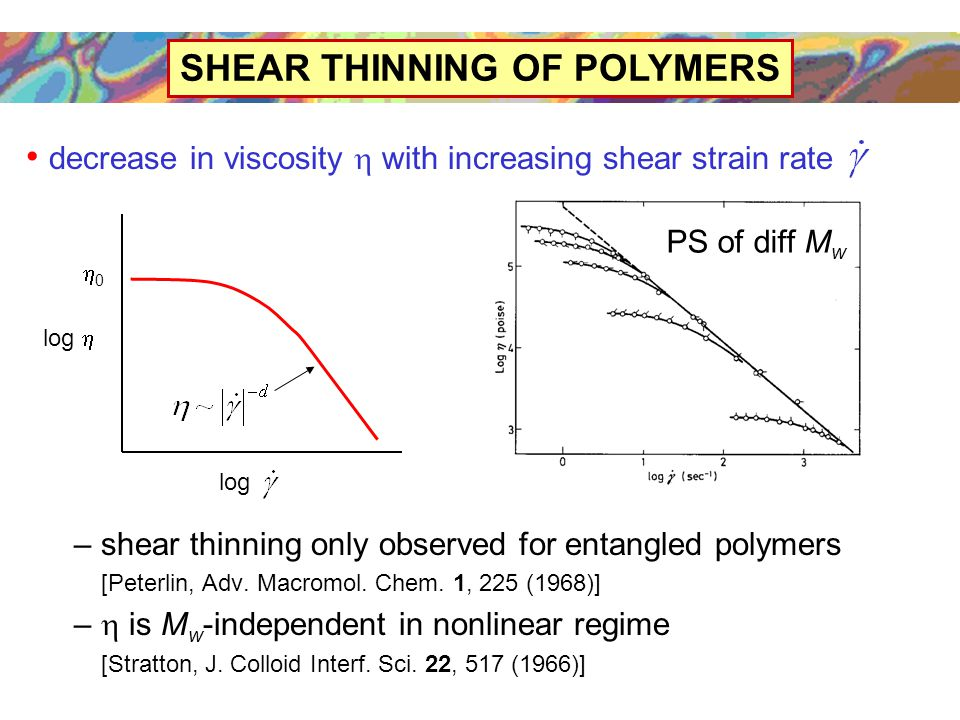 SHEAR THINNING OF POLYMERS decrease in viscosity  with increasing shear strain rate – shear thinning only observed for entangled polymers [Peterlin, Adv.
