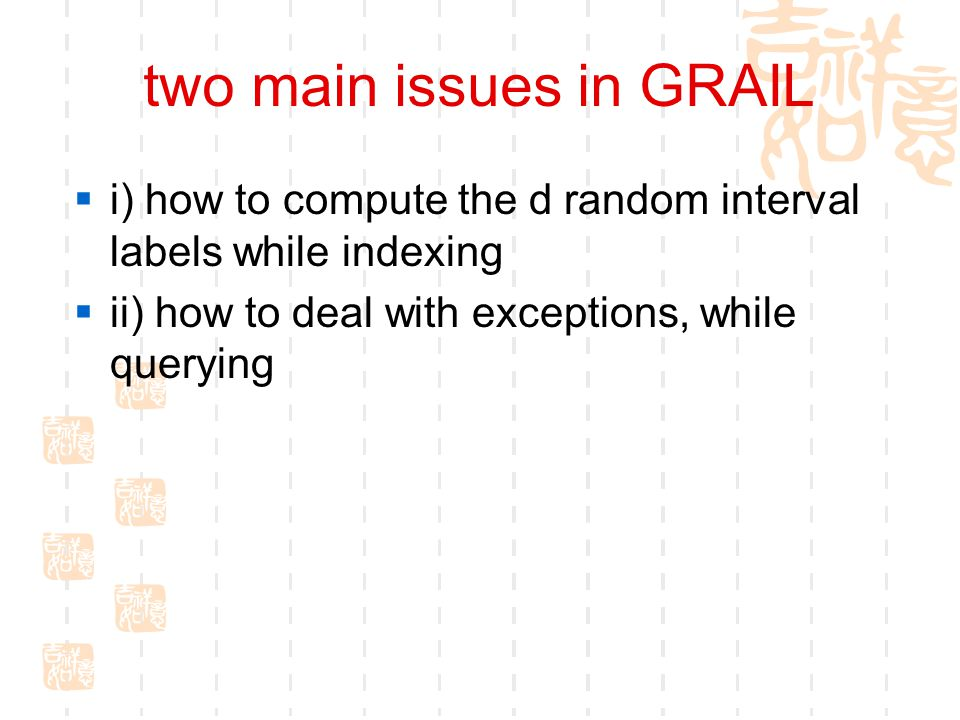 two main issues in GRAIL  i) how to compute the d random interval labels while indexing  ii) how to deal with exceptions, while querying