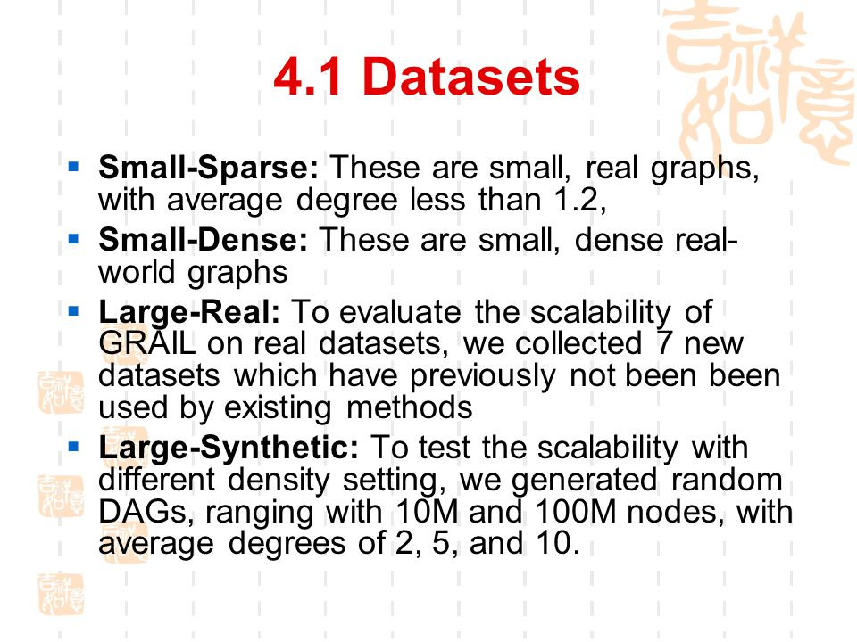 4.1 Datasets  Small-Sparse: These are small, real graphs, with average degree less than 1.2,  Small-Dense: These are small, dense real- world graphs  Large-Real: To evaluate the scalability of GRAIL on real datasets, we collected 7 new datasets which have previously not been been used by existing methods  Large-Synthetic: To test the scalability with different density setting, we generated random DAGs, ranging with 10M and 100M nodes, with average degrees of 2, 5, and 10.