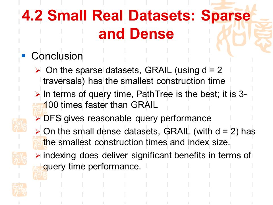 4.2 Small Real Datasets: Sparse and Dense  Conclusion  On the sparse datasets, GRAIL (using d = 2 traversals) has the smallest construction time  In terms of query time, PathTree is the best; it is 3- 100 times faster than GRAIL  DFS gives reasonable query performance  On the small dense datasets, GRAIL (with d = 2) has the smallest construction times and index size.