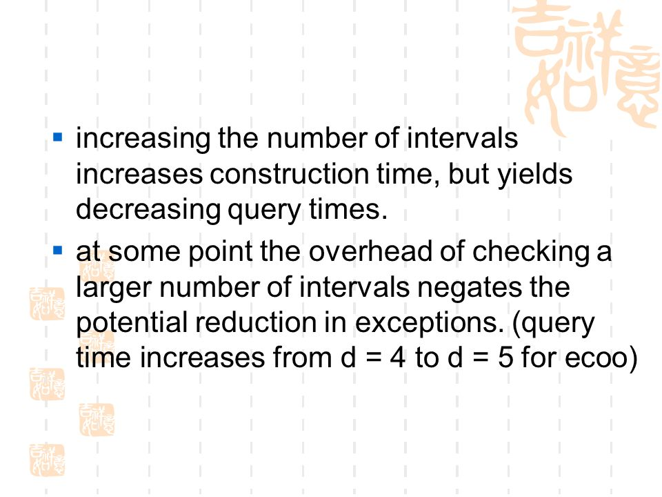  increasing the number of intervals increases construction time, but yields decreasing query times.