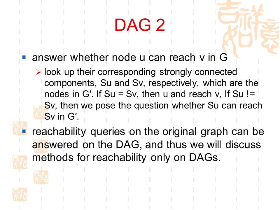 DAG 2  answer whether node u can reach v in G  look up their corresponding strongly connected components, Su and Sv, respectively, which are the nodes in G′.